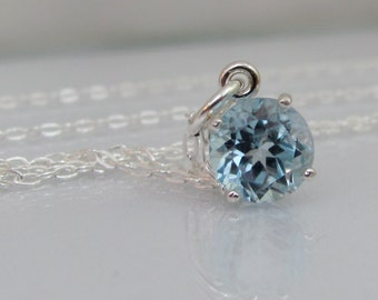 Sky Blue Topaz Pendant, Blue Topaz Necklace, Sterling Silver, 8mm Blue Topaz Gemstone, December Birthstone, Bride Necklace, Wedding Jewelry