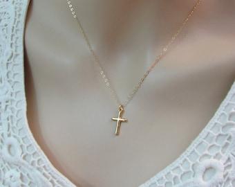 Gold Cross Necklace, 18K Gold Vermeil Cross, Charm Necklace, 14k Gold Filled Necklace, Religious Jewelry, Cross Pendant, Layering Necklace