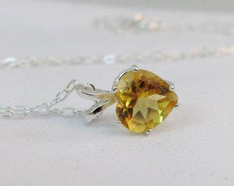 Citrine Heart Pendant in Sterling Silver, Golden Yellow Citrine Necklace, November Birthstone Gift, Citrine Jewelry, 8mm Gemstone Necklace