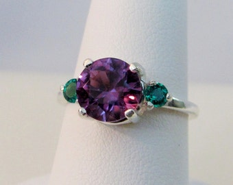 Alexandrite and Emerald Ring in Sterling Silver, Alexandrite Jewelry, Color Change Gemstone, Lab Grown Alexandrite, June Birthstone Ring