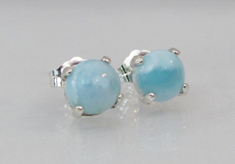 0837e9512 Larimar Earrings in Sterling Silver 6mm Stud Earrings | Etsy