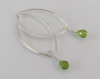 Peridot Marquise Earrings, Peridot Earrings, Green Gemstone Earrings, 925 Sterling Silver, August Birthstone Jewelry, Dangle Earrings