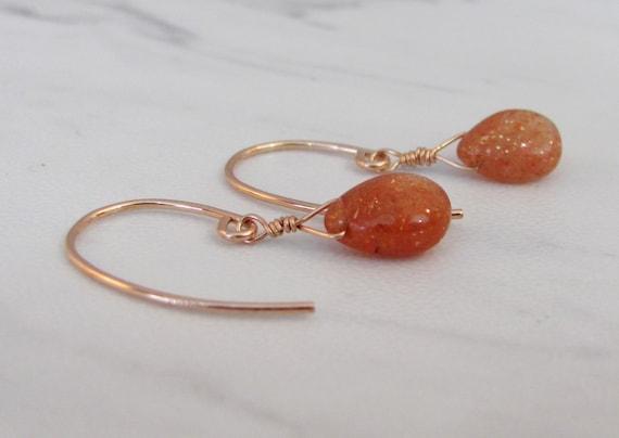 Gift bag. Sterling silver long cab SUNSTONE sweetheart earrings
