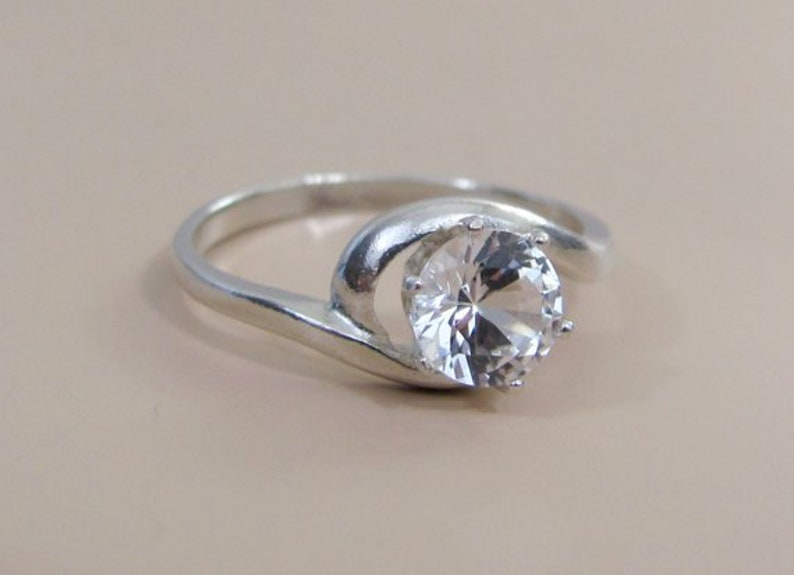 White Sapphire Ring 6mm Lab Grown Sapphire in Sterling Silver Diamond Alternative for April Birthstone
