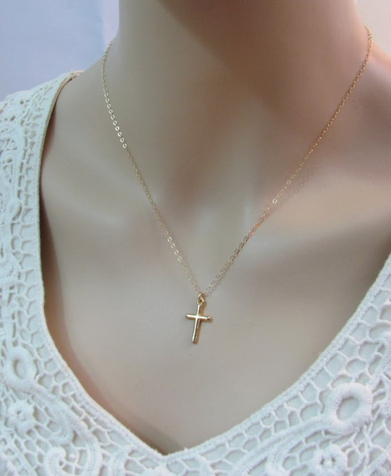 Gold cross necklace 18k gold vermeil cross charm necklace etsy image 0 aloadofball Gallery