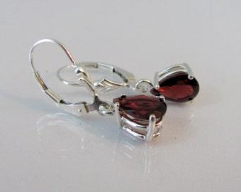 Garnet Leverback Earrings, Garnet Earrings, 9x6mm Mozambique Garnet Gemstone, Sterling Silver, January Birthstone, Red Garnet Jewelry