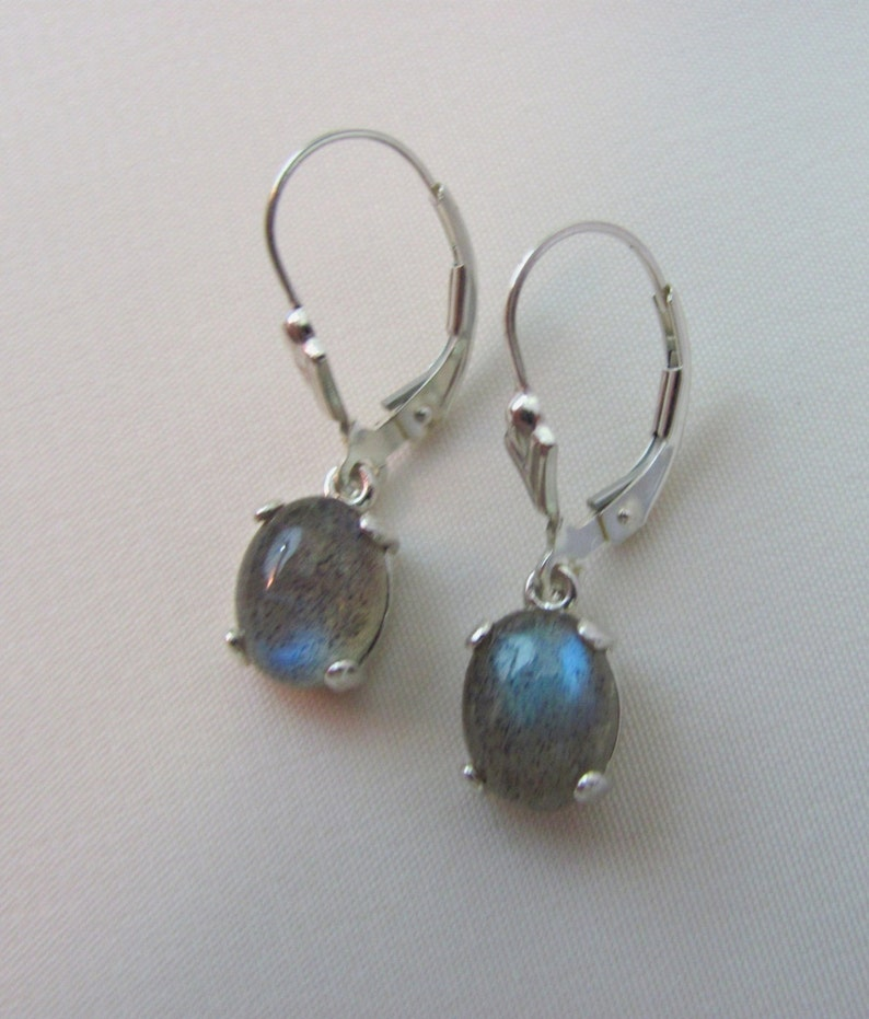 82c4fe8db Labradorite Drop Earrings Sterling Silver 9x7mm Blue Flash | Etsy