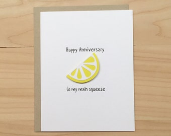 Happy Anniversary to My Main Squeeze, Happy Anniversary Card, Funny Anniversary Card, Cute Anniversary Card
