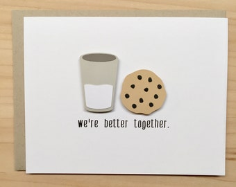 Cute Anniversary Card, We're Better Together Card, Cookies and Milk Card, Cute Friendship Card, Valentine's Day Card, Boyfriend Card