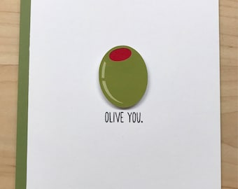 Olive You Card, Cute Anniversary Card, Cute Valentine's Day Card, Friendship Card, Cute Birthday Card, Blank Card, Thinking of You Card