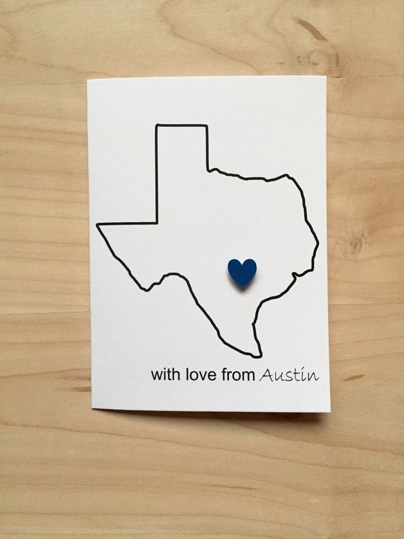 Set of 8 Texas Thank You Cards With Love From Austin Texas Austin Texas Notecards