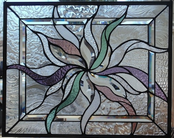 Stained Glass ASbstract Window Hanging 21 X 17