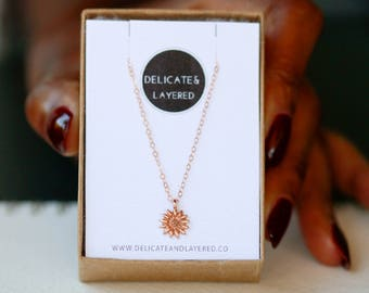 Sunflower Necklace, Flower Necklace, Rose Gold Necklace, Sunflower, Layered Necklace, Simple Sunflower Necklace, Layering Necklace