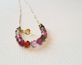 Turmaline and gold plated necklace. Turmalines. Gems. Semiprecious. Handmade. Turmalines