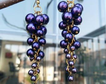 Black Currant Pearl Earrings