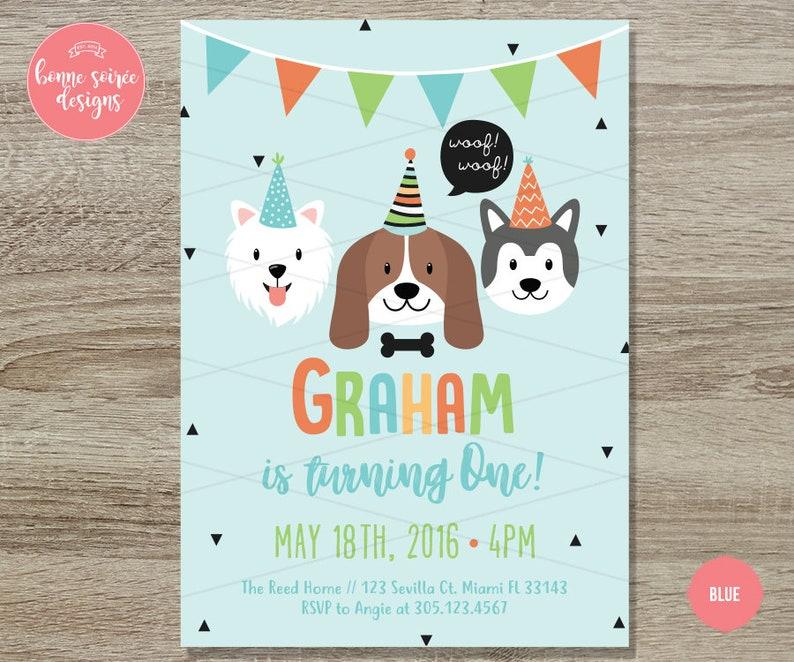 Doggy Birthday Invitation Printable  5x7 Hipster Dog Birthday Invite Boys Dog First Birthday Girls Dog Theme First Birthday Invitation