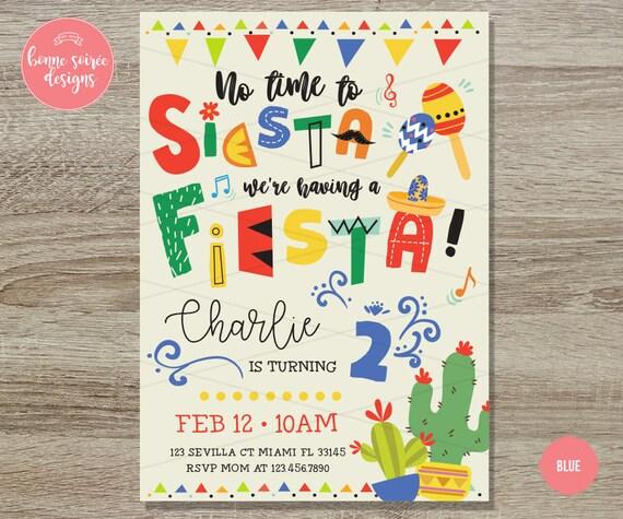 fiesta birthday invitation 5x7 taco party invite cactus etsy