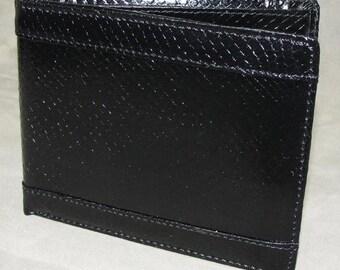 Salmon Skin Bi-Fold Wallet Black