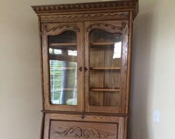 Antique Oak Wood Victorian Secretary Desk