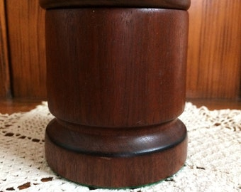 Vintage Handmade Walnut Wood Canister with Lid Jewelry Trinket Catch All Container Holder