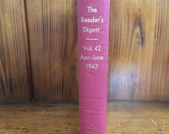 Antique Reader's Digest Hardcover Red Book Vol 42 April-June 1943