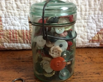 Antique Button Collection in Atlas Canning Blue Glass Jar with Button Corset Shoe Button Puller