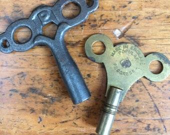 Set of 2 Antique Cast Iron Brass Clock Keys