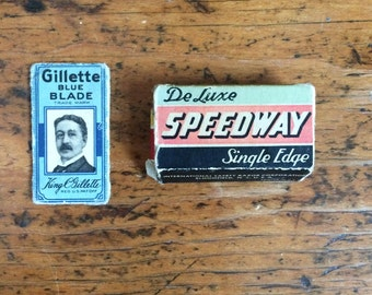 Antique Gillette Blue Blde and Deluxe Speedway Single Edge Razor Blades Original