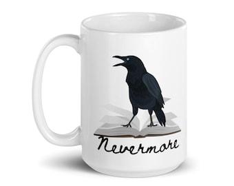 Edgar Allan Poe | Raven on Mug | Nevermore | Gift for Book Lovers | Ravens | Books on Mug