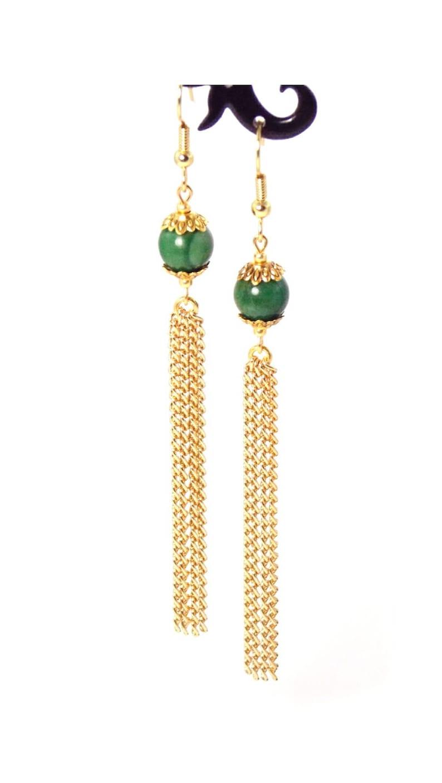 fd33e038b Green Verdite Stone Gold Plated Long Dangle Tassel Chain | Etsy