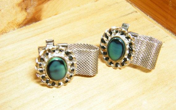 Vintage mens silver tone mesh cufflinks Husband gi