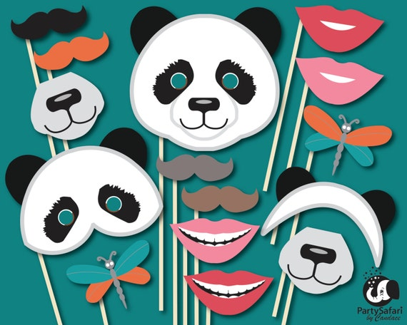 panda bear printable photo booth props panda themed photo etsy