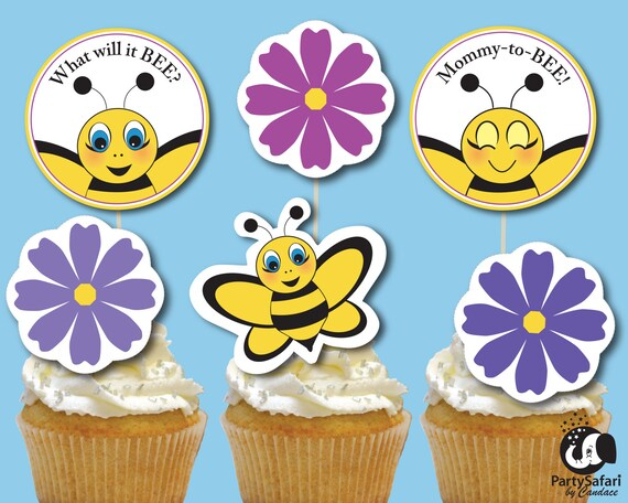 Bee Baby Shower Printable Cupcake Toppers Bumble Bee Baby Etsy