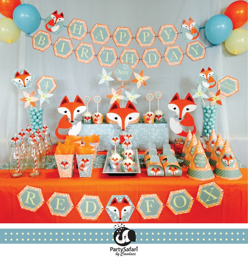 75bb10c27 Bosque rojo zorro cumpleaños personalizada imprimible paquete fiesta |  Fiesta de cumpleaños del zorro | Paquete de cumpleaños del zorro | Fiesta  Safari por ...