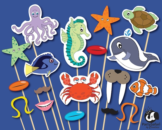 Under The Sea Printable Photo Booth Props Ocean Theme Photo Etsy