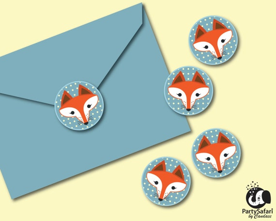 woodland red fox printable envelope stickers red fox etsy
