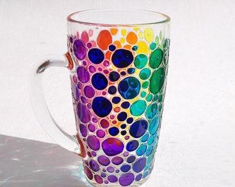 Rainbow coffee mug gift, colorful hand painted glass mug with bubbles design