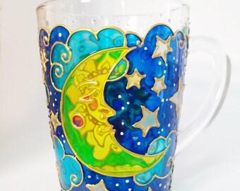 Sun & Moon Mug Day Night Painted Coffee Mug Christmas gift mug  Hand Painted Glassware