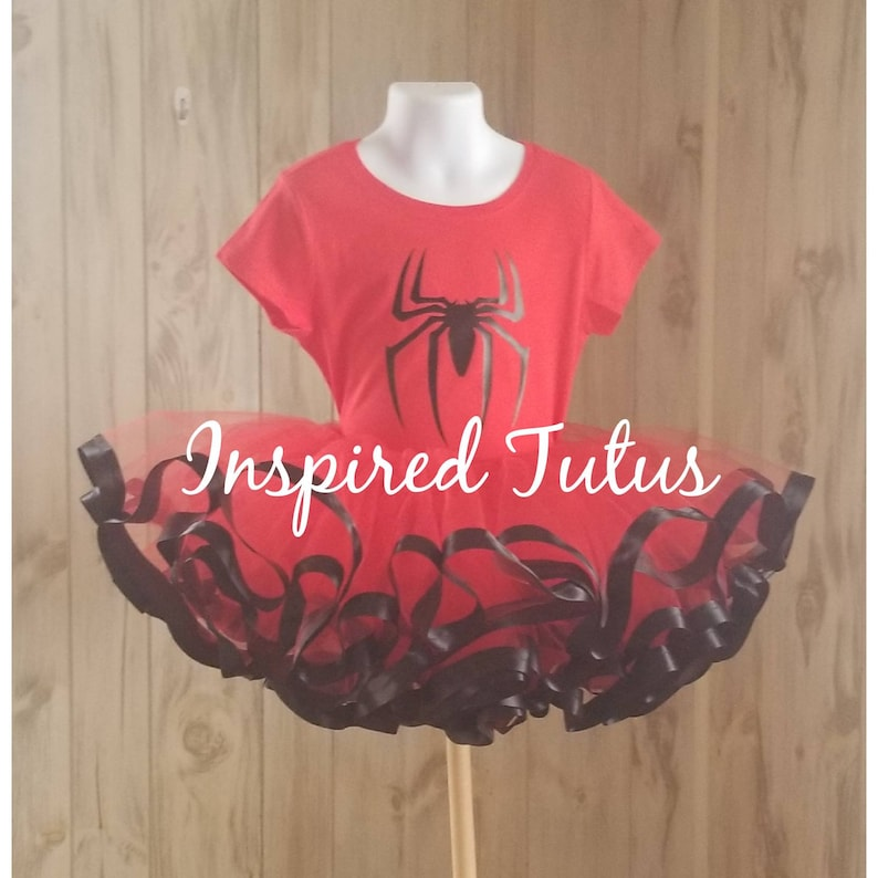 Other characters available Spidergirl or Spiderman onsie or Tshirt and ribbon lined tutu