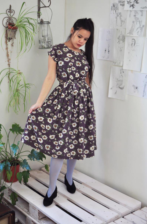 5b5fd9b47c21 Vintage japanese blossom flower purple midi dress  Adorable