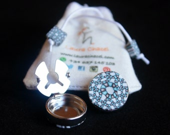 White and turquoise button covers