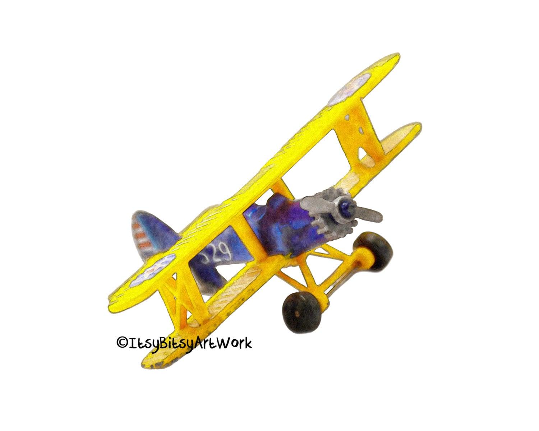 Airplane Biplane Aviation Art Print Digital Watercolor Decor | Etsy