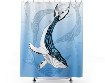 Humpback Whale Tribal Ink Blue Shower Curtain