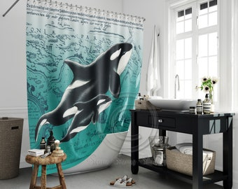 Premier Prints Whale Tales Storm Gray with White Whales Valance Curtain choose your color option Baby Nursery