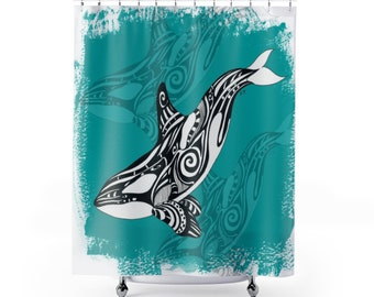 Orca Whale Tribal Teal Shower Curtains