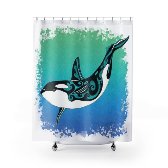 Orca Whale Tribal Ink Art Shower Curtains