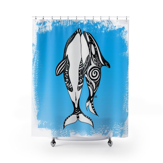 Orca Whales Tribal Ink Blue Shower Curtain
