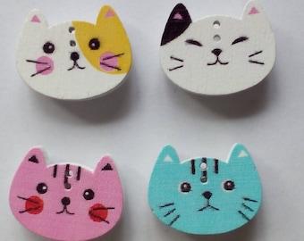 Wooden button cat face fridge magnets, multi-coloured x 4