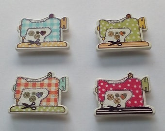 Wooden button Sewing Machine fridge magnets, multi-coloured x 4