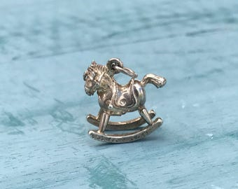 Sterling Silver Rocking Horse Pendant Charm 4.1g